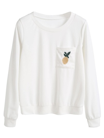White Pineapple Embroidered Sweatshirt With Pocket