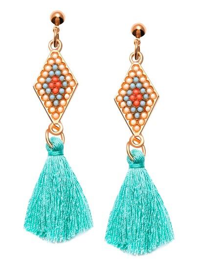 Turquoise Tassel Geometric Beaded Drop Earrings