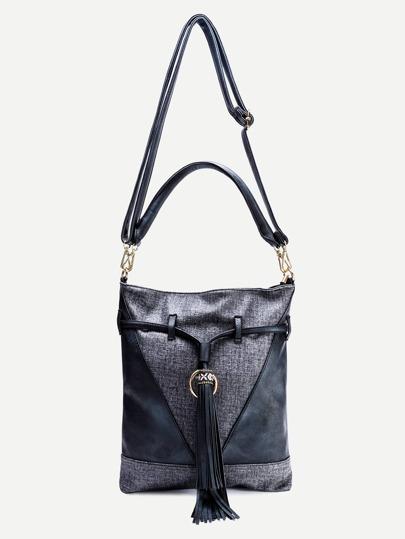 Black Faux Leather Tassel Trim Drawstring Shoulder Bag