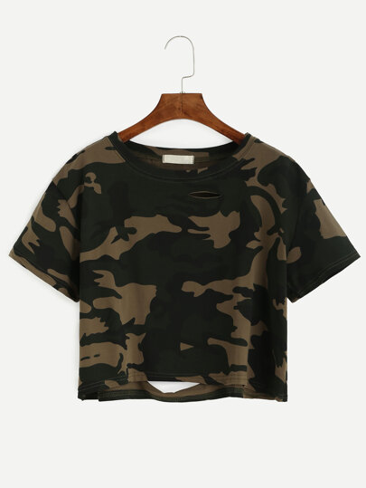 Camo Print Distressed Crop Tee