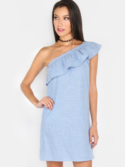 One Shoulder Stripe Ruffle Dress BLUE