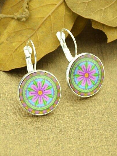 Silver Ethnic Flower Plain Round Hoop Earrings For Women