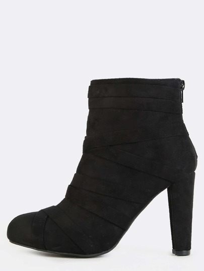 Wrap Straps Chunky Heel Ankle Boots BLACK