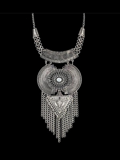 Antique Silver Tibetan Design Long Tassel Geometric Chunky Statement Necklace