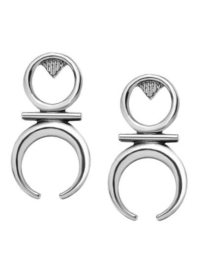 Antique Silver Geometric Stud Earrings