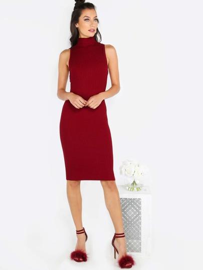 Sleeveless Turtleneck Dress WINE