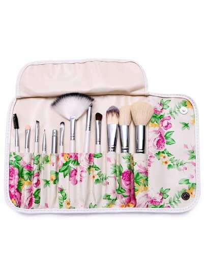 12PCS White Professional Makeup Brush Set With Floral Print Bag
