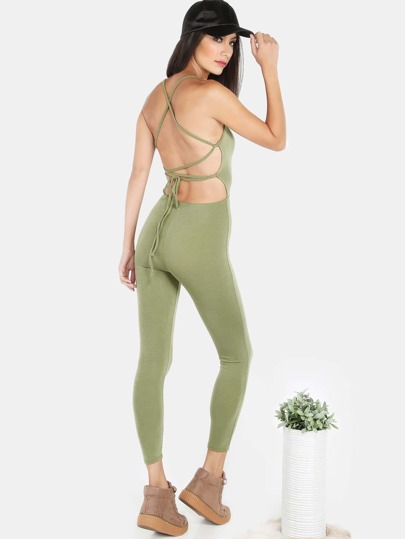 Low Crossback Jumpsuit OLIVE