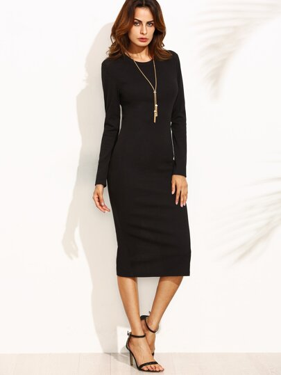 Black Split Back Long Sleeve Sheath Dress