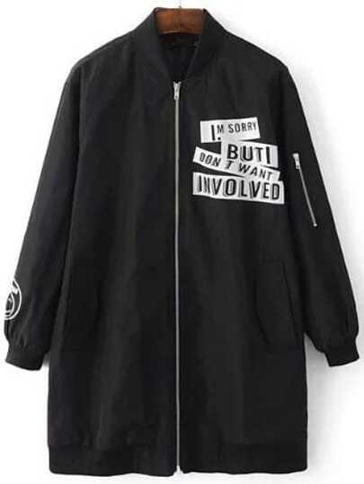 Black Letter Print Zipper Up Longline Bomber Jacket