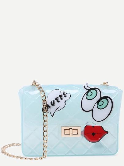 Blue Eyes Lip Patch Clear Crossbody Bag