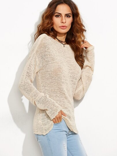 Apricot Boat Neck Drop Shoulder Loose Knit Sweater