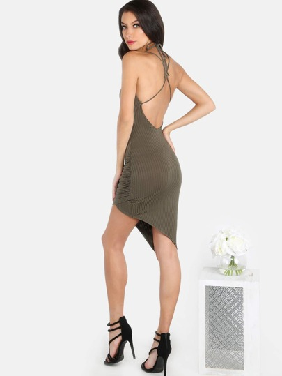 Ribbed Halter Asymmetrical Mini Dress OLIVE