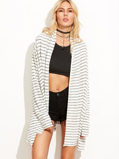 Black White Striped Cardigan