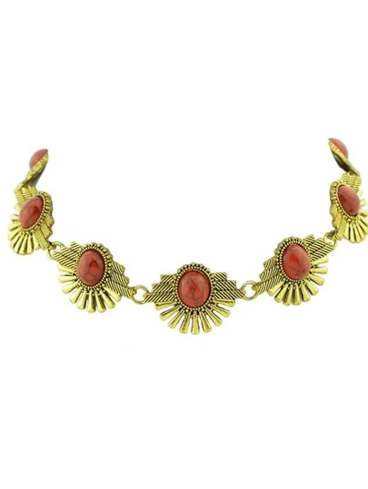Red Indian Design Imitation Turquoise Flower Choker Necklace
