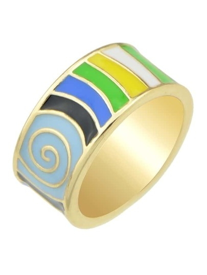 Blue Stripe Pattern Round Finger Ring