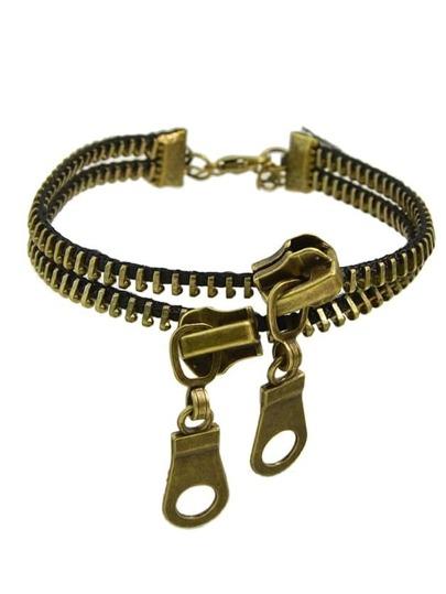 Antique Gold Color Zipper Shape Anklet For Ladies