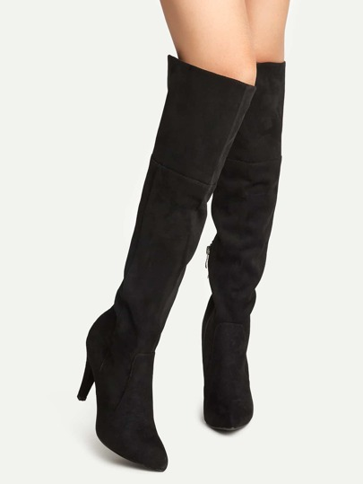 Black Suede Point Toe Knee High Boots