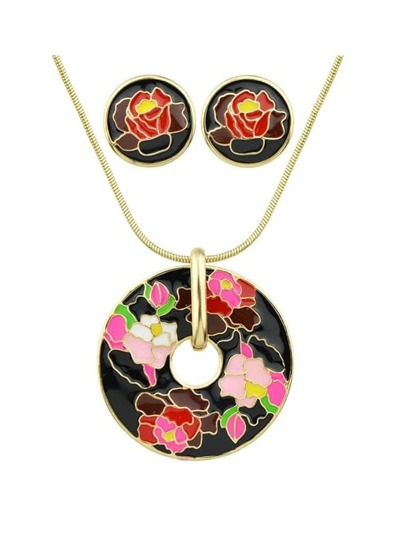 Black Flower Print Round Pendant Necklace Earrings Set