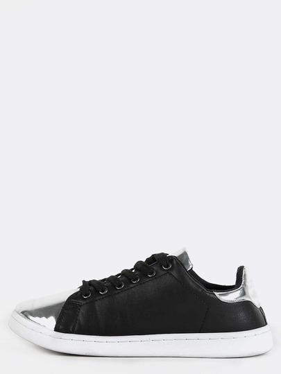 Metallic Accent Low Top Sneakers BLACK