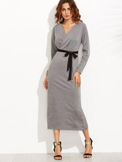 Heather Grey V Neck Wrap Dress With Belt