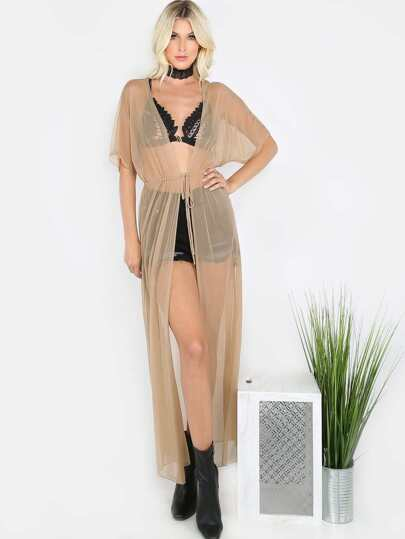 Front Tie Mesh Maxi Cover Up NUDE