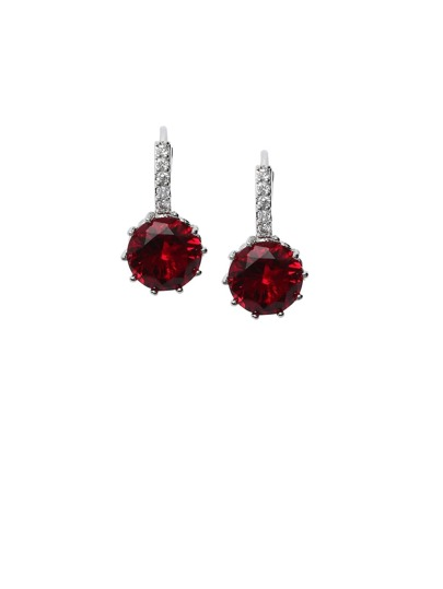 Silver Plated Red Rhinestone Arc Earrings