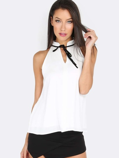 Sleeveless Tie Neck Top WHITE
