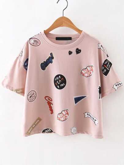 Pink Round Neck Printed Short Sleeve T-Shirt