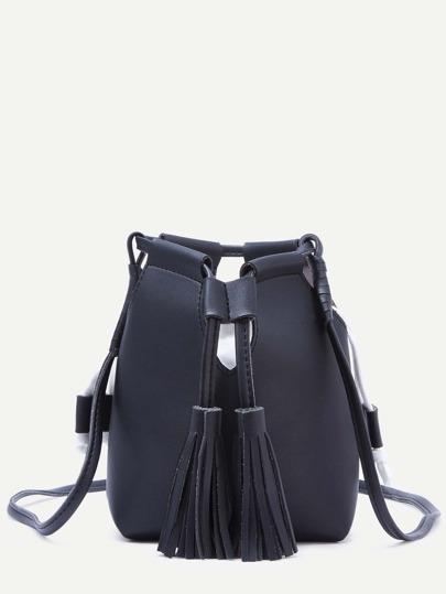 Black Tassel Drawstring PU Bucket Bag