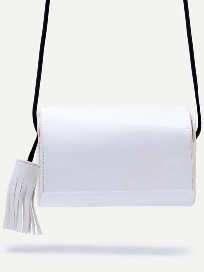 White Fringe Snap Button Closure Flap Bag