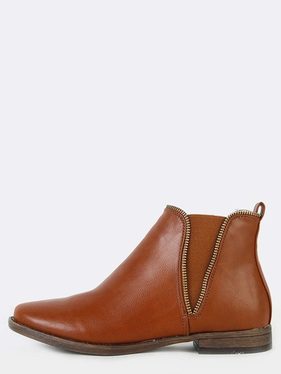 Low Cut Zipper Trim Ankle Booties CHESTNUT