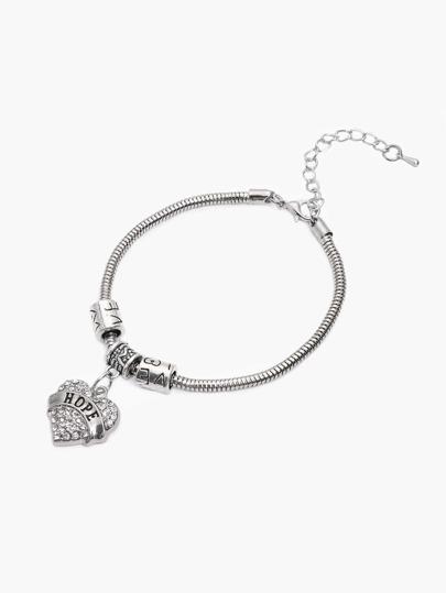 Silver Rhinestone Encrusted Heart Charm Bangle