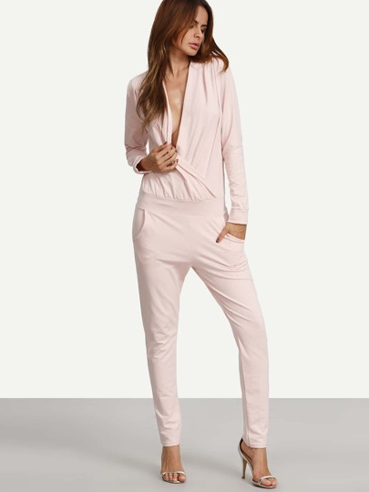 Pink Long Sleeve Pockets Wrap Jumpsuit