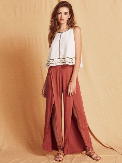 Pantalones pernera ancha abertura - marrón