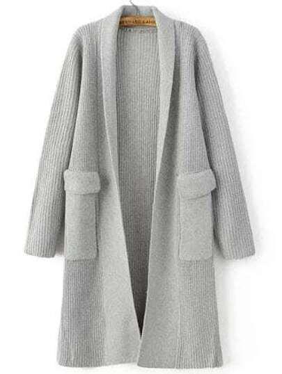 Light Grey Shawl Collar Textured Cardigan With Pockets