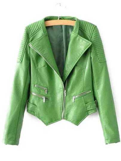 Green Oblique Zipper Asymmetrical Crop PU Jacket