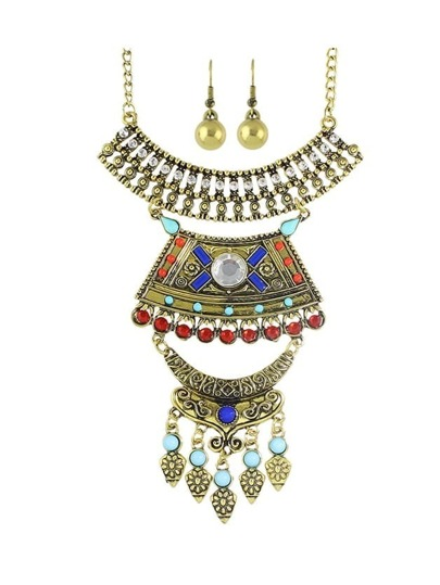 Antique Gold Wedding Jewelry Colorful Rhinestone Necklace Earrings Set
