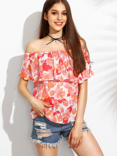 Floral Print Off The Shoulder Ruffle Blouse
