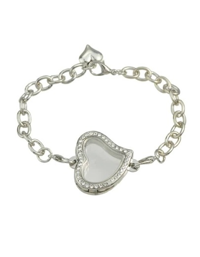 Silver Chain Bracelet With Stone Heart
