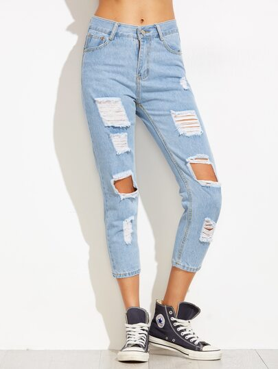 Blue Distressed Ankle Jeans