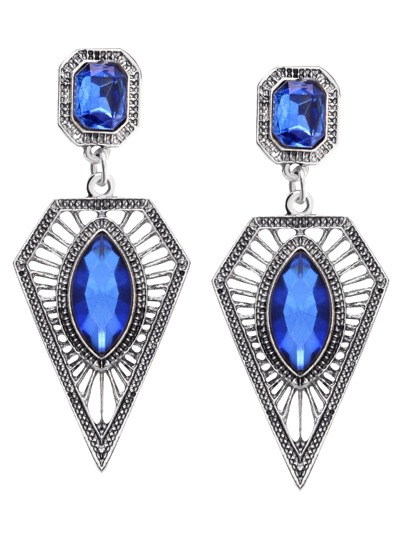 Blue Rhinestone Geometric Hollow Out Drop Earrings