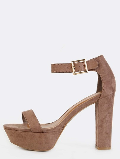 Open Toe Platform Chunky Heels TAUPE