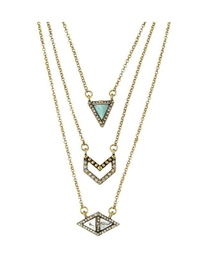 Rhinestone Turquoise Triangle Geometric Necklace