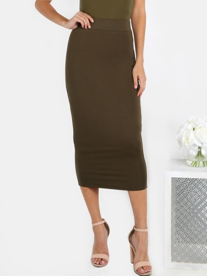 Classic Midi Skirt OLIVE