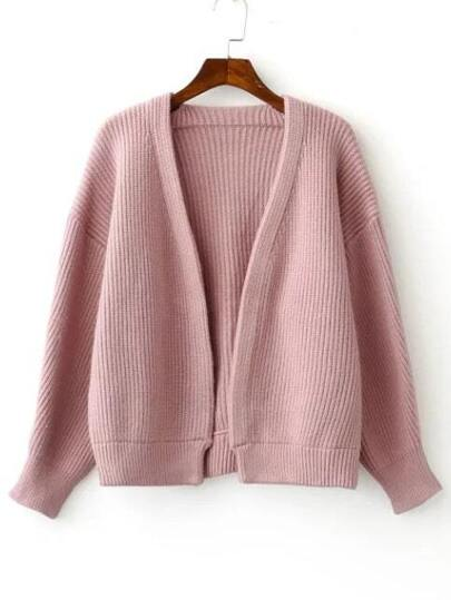 Pink Open Front Drop Shoulder Ribbed Chunky Sweater Coat