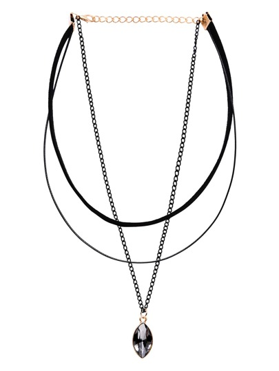 Three-Layer Bead Pendant Choker Necklace