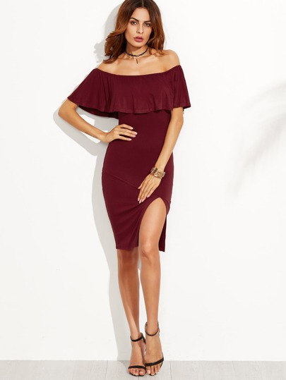 Burgundy Ruffle Off The Shoulder Slit Dress