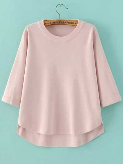 Pink Crew Neck Three Quarter Sleeve Dip Hem Sweater