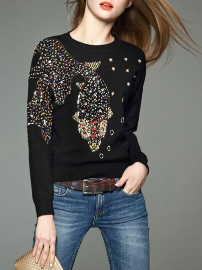 Black Fish Beading Knit Sweatshirt